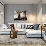 Красивый диванчик в углу комнаты, сделанный своими руками
