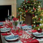 Красная новогодняя скатерть-дорожка со снежинками