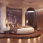 Круглая кровать для необычной спальни