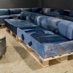 Обивка из джинсовой ткани для самодельного дивана