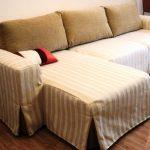 Полосатое покрывало-чехол на диван в гостиную