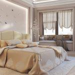 Шикарная кровать и диванчик у окна для современной спальни