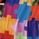 """Вязанный плед """"разноцветные пазлы"""""""