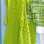 Яркий зеленый детский плед спицами