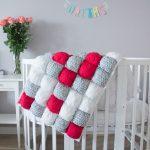 Детское яркое одеяло покрывало в технике бонбон для кроватки малыша