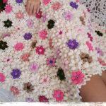 Нежное цветочное одеяло из отдельных элементов
