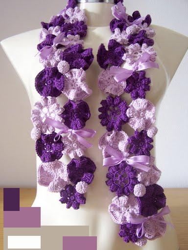 Нежный шарфик из цветочных мотивов
