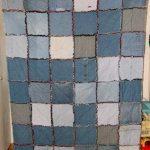 Одеяло-покрывало из квадратиков с бахромой