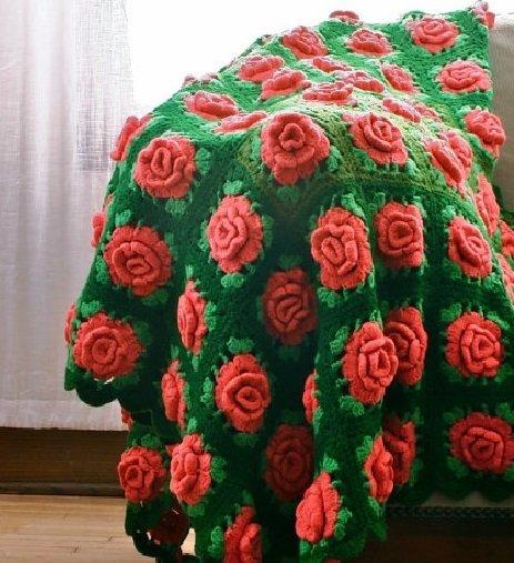 Шикарный плед с розами