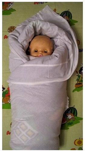 Запахиваем правый угол одеялка