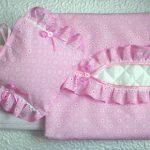 Розовый ажурный комплект в детскую кроватку