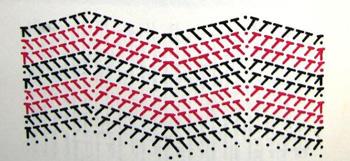Схема вязания зигзагами
