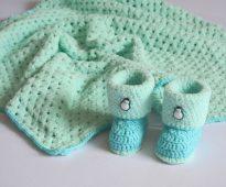 Вязанный бирюзовый комплект для малыша
