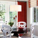 Бежево бордовые шторы в светлую столовую