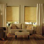 Дизайн гостиной с бежевыми шторами