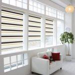 Рулонный шторы типа день-ночь на пластиковом окне