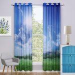 Фото-шторы с голубым небом и сочной зеленью