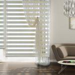 Дизайн гостиной с рулонными шторами типа день-ночь