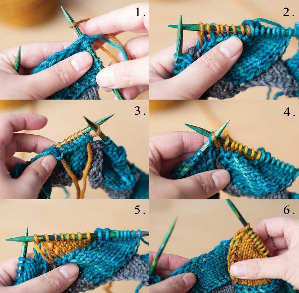 Процесс вязания спицами