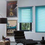 Кассетные шторы зебра в интерьере гостиной