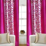 Комбинированные атласные шторы в розовом цвете
