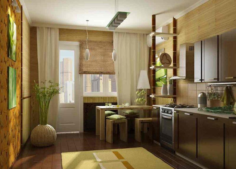 Дизайн кухни с бамбуковыми шторами на окне