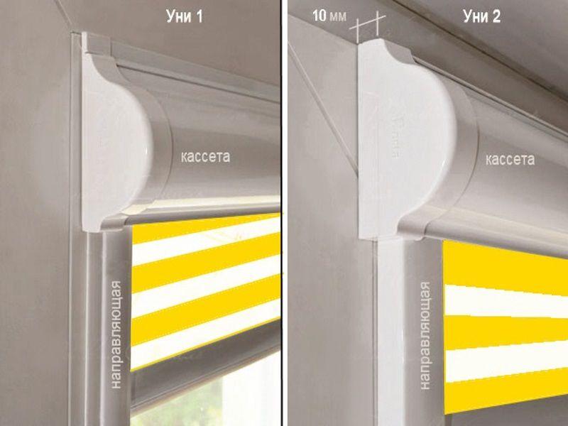 Сравнение габаритов короб рулонных штор Uni-1 и Uni-2