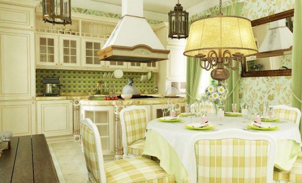 Кухня-столовая с элементами кантри