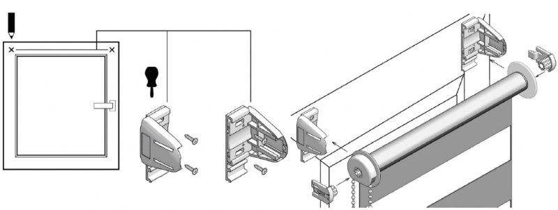 Схема сборки и установки шторы зебра на саморезы