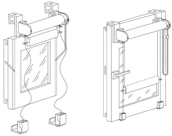 Схема монтажа рулонной шторы со струной