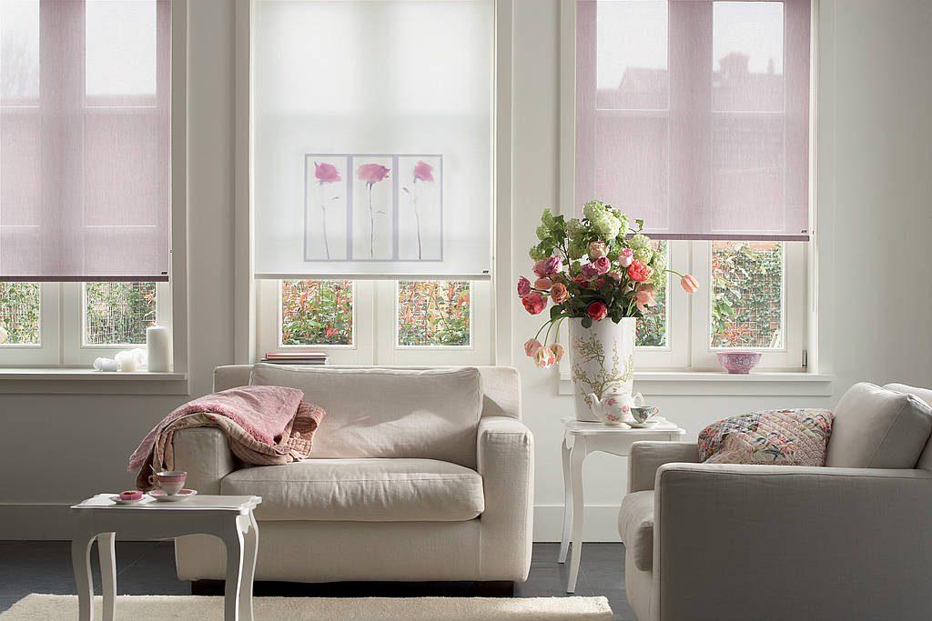 Полупрозрачные ролеты на окнах гостиной