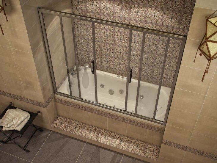 Раздвижная штора из поликарбоната в интерьере ванной