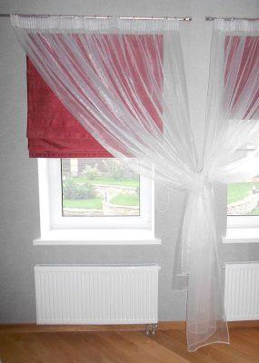 Римские шторы бордового цвета