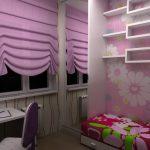 Фиолетовые шторы на окне детской комнаты
