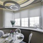 Обустройство столовой в эркере кухни