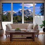 Рулонные шторы с фотопечатью на большом окне