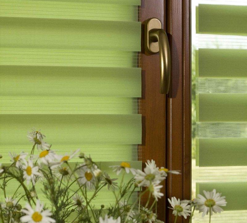 Рулонные шторы Зебра с салатовыми полосами