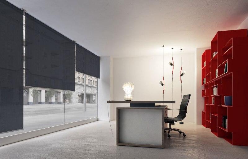 Дизайн офиса с рулонными шторами с электроприводом