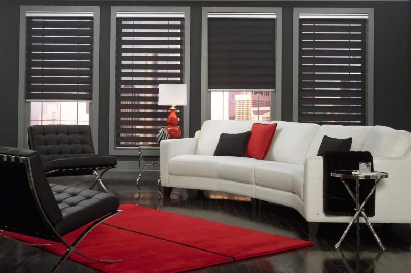 Белый диван в гостиной с черными шторами типа день ночь