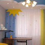 Шторы для гостиной из тюля в желто-голубых тонах