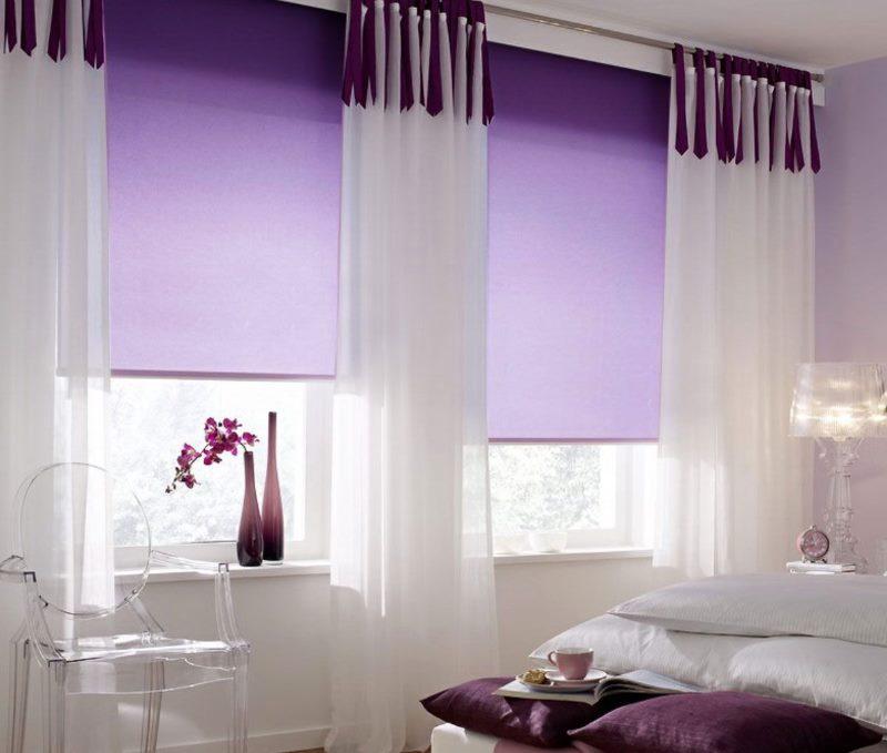 Рулонные шторы с переходом от темно-фиолетового до светлого