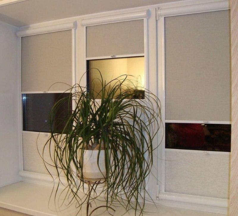 Рулонные шторы с пружинным механизмом на пластиковом окне
