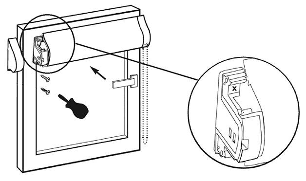 Схема установки рулонной шторы кассетного типа на саморезы