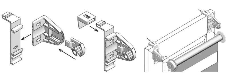 Установка рулонной шторы Зебра на двусторонний скотч