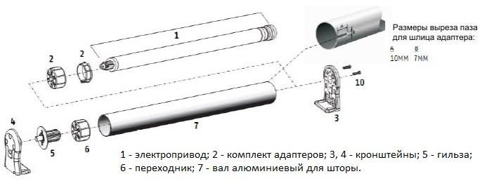 Схема размещения электропривода внутри гильзы рулонной шторы