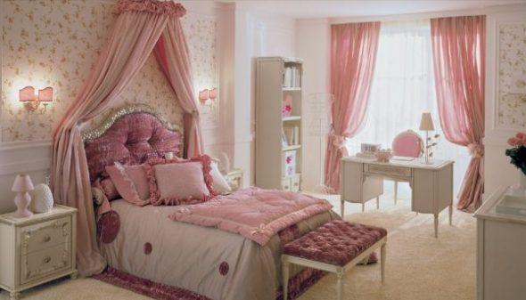 Спальня для девочки подростка с розовым декором