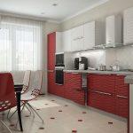 Светло бордовые шторы с тюлью на кухню с такой же мебелью