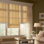 Рулонные тканевые шторы в классическом интерьере