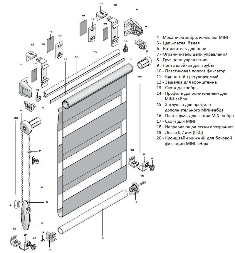 Схема рулонной шторы день-ночь с леской