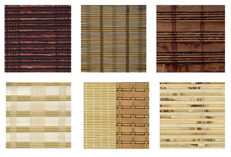 Вариант рисунков на рулонных шторах из бамбука
